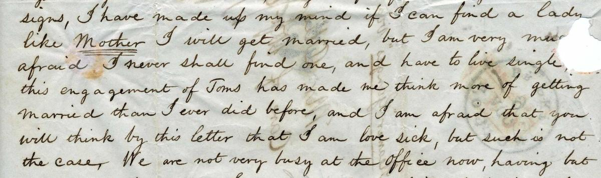 Image of Everett Family letters discussing marriage and engagements