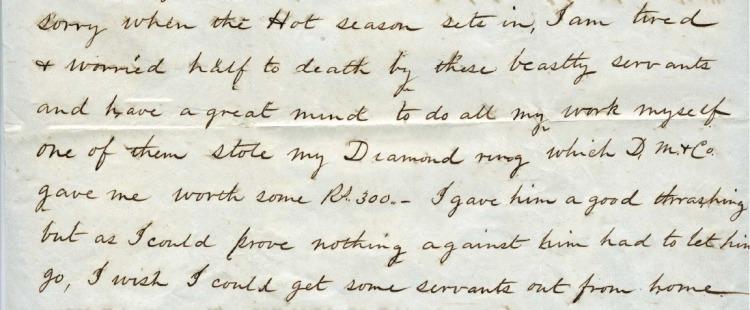 Otis Blake describes beating a servant on the suspicion of theft.