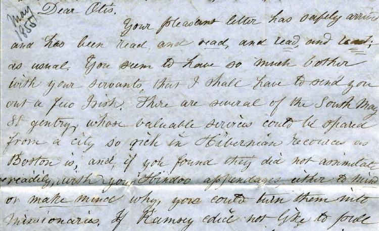Elizabeth writes to Otis about sending Irish servants to India.